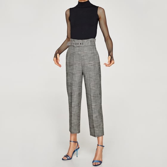 9304f867 Zara Pants | Grey Checked High Waist Belted Trousers | Poshmark